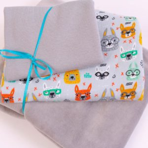 "Stoff-Paket Nicky ""Bunnie with glasses""  in grau"