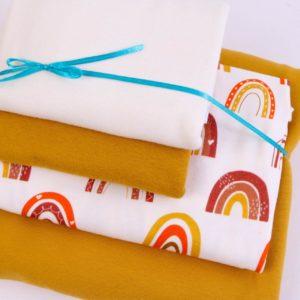 "Stoff-Paket Jersey  ""Regenbogen""  senf/ecru/mandarine"