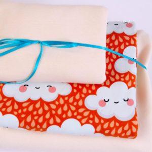 "Stoff-Paket ""sleeping clouds"" mandarine/ecru"""