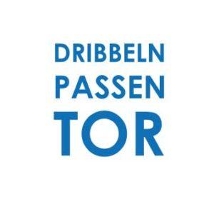 """Bügelbild Plot """"DRIBBELN PASSEN TOR"""" 15x15cm  in dunkelblau  DIY"""
