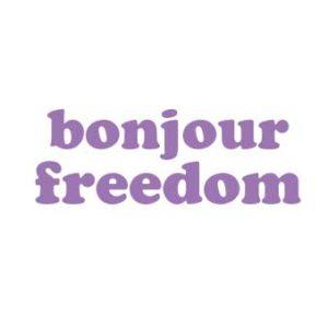 "Bügelbild Plot ""bonjour freedom"" 28x10cm  in flieder   DIY"