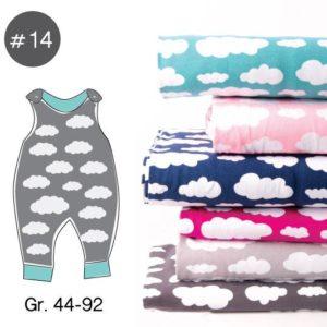 "SEWING-KIT Stoff+Papierschnittmuster ""Classic Strampler Wolken"" Gr. 44-92  (Farbe wählbar)"