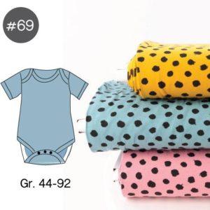 "SEWING-KIT Stoff-Paket mit Papierschnittmuster ""Baby-Body DOTS"" Gr. 44-92  (Farbe wählbar)"