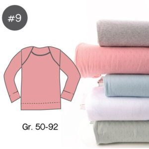 "SEWING-KIT Stoff und Papierschnittmuster ""Baby-Basic-Shirt POINTOILLE Jersey"" Gr. 50-92  (Farbe wählbar)"