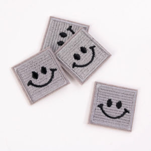 "PATCH"" ""happy Smiley"" grey 3×3 cm   (Nr.24)"