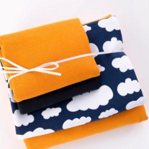 """Stoff-Paket Jersey+Sweat  """"Wolken""""  marine/eidottergelb"""