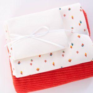 """Stoff-Paket  Nicky+Jersey """"kleine Rauten""""  ecru/mandarine"""