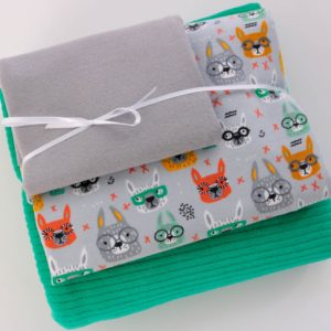 "Stoff-Paket  Nicky+Jersey ""Bunny with Glasses""  grau/menta-grün"