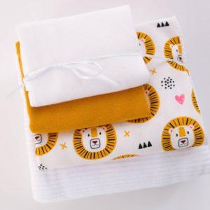 "Stoff-Paket Jersey+Nicky  ""Lion""  soft-mustard/weiß"