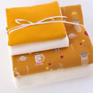 "Stoff-Paket Jersey+Sweat  ""Faultier""  soft-mustard/ecru"