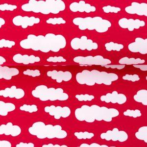 """Jersey """"Wolken"""" rot/ weiß"""