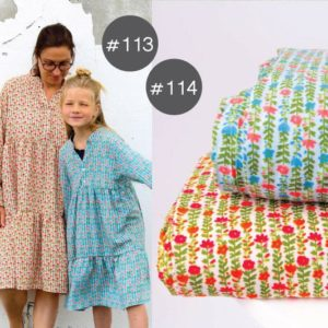 "SEWING-KIT Stoff+Material ""Willow-Dress Flowers"" Mädchen oder Damen  (Farbe wählbar)"