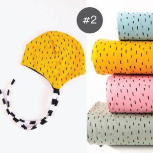 """SEWING-KIT Stoff-Paket mit Papierschnittmuster """"Bindemütze"""" KU. 30-52  (Farbe wählbar)"""
