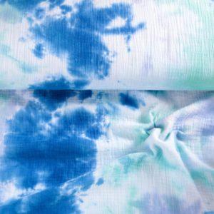 "Musselin / Double Gauze ""blau/aqua/weiß -batik"""