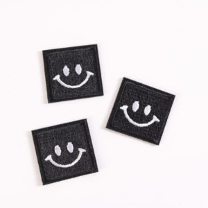 "PATCH"" ""happy Smiley"" schwarz  3×3 cm   (Nr.27)"