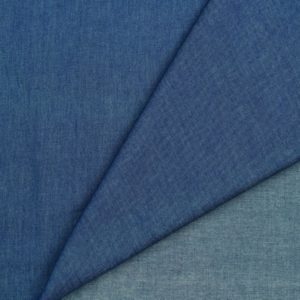 "Chambray Blusenstoff  ""mittelblau"" im Denim/Jeans Look"