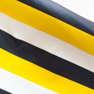 """Angebot!  Regenjackenstoff  """"Blockstreifen"""" weiß/marine/gelb"""