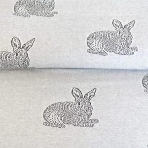 "Angebot! Jacquard Jersey  ""oh Bunny"" in grau meliert/schwarz"