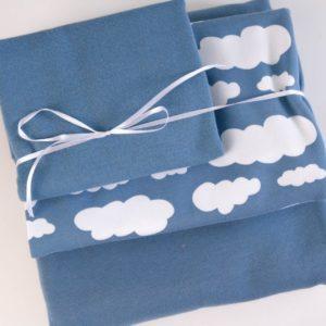 """Stoff-Paket """"Wolken""""   in taubenblau/weiß"""