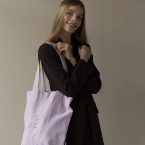 "Tinne und Mia /   Linen Tote Bag ""orchid rush""  in flieder"