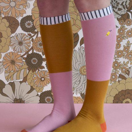 18072 - Kneehigh socks - duo tone - dusty pink + dijon
