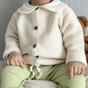 """Baby """"Stickjäckchen""""  in ecru  (Größe wählen)"""