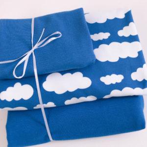 """Stoff-Paket """"Wolken""""   in royal-blau"""