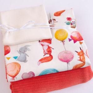 "Stoff-Paket  Nicky+Jersey ""Party Fox""  ecru/ mandarine"