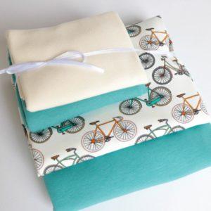 """Stoff-Paket Jersey+Sweat  """"Bicylcle""""  aqua/ecru"""