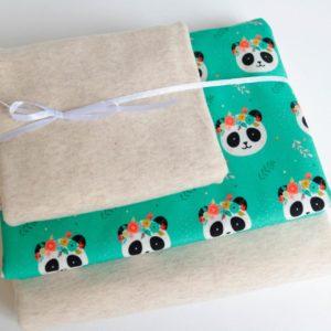 "Stoff-Paket   ""Panda""   natur meliert/menta"