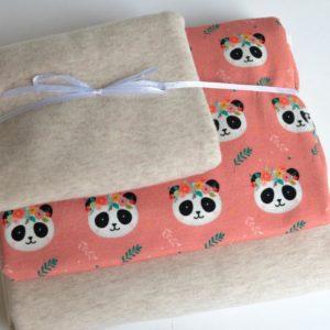 """Stoff-Paket   """"Panda""""   natur meliert/soft rose"""