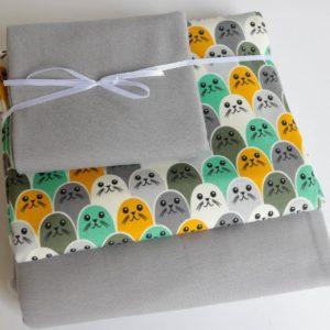 "Stoff-Paket   ""Robben""   grau/grün"