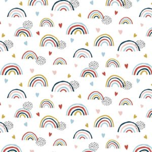 """Jersey """"Rainbow"""" weiß/ bunt GOTS"""