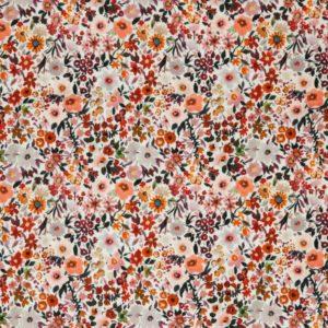 """Musselin / Double Gauze digital Print """"Flower Bouquet"""" in ecru/rost-bunt"""