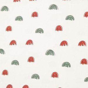 "Jersey  ""watercolored mini Rainbows""  in ecru/ salbei/ rost"