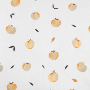"""Jersey  """"watercolored Apples""""  in ecru/ senf"""
