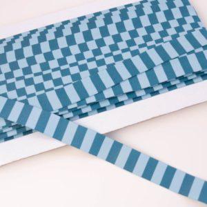 "Webband/ Flachkordel ""Blockstreifen"" 15mm breit in jeansblau/bleu"