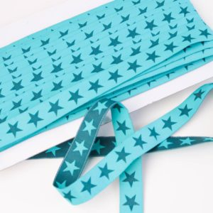 "Webband/ Flachkordel ""Stars"" 15mm breit in türkis/petrol"
