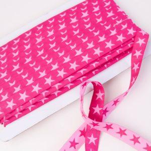 "Webband/ Flachkordel ""Stars"" 15mm breit in pink/rose"