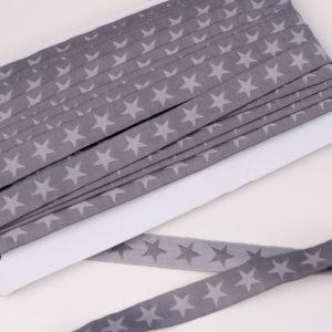 "Webband/ Flachkordel ""Stars"" 15mm breit in anthra/grau"