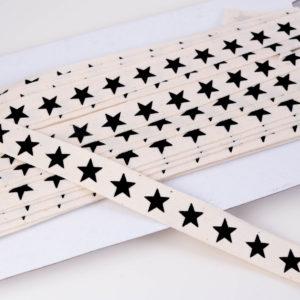 """französisches Webband Natur / Flachkordel """"Stars"""" 15mm breit in ecru/schwarz"""