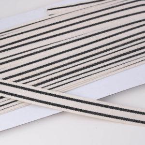 """französisches Webband Natur / Flachkordel """"Stripes"""" 15mm breit in ecru/schwarz"""