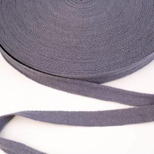 Baumwoll Köperband/ Webband/ Flachkordel 15mm breit in grau