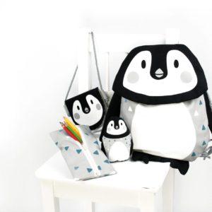 "Panel ""Pinguin"" /  Tierbeutel SET +Rucksack uvm. 75cm x 150cm by Käselotti"