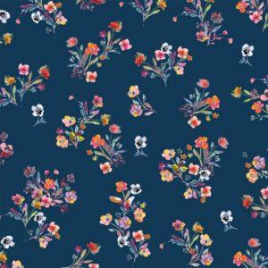 """Jersey """"Flower Bouquet""""  in marine/bunt"""