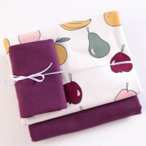 "Stoff-Paket   ""Fruits""   ecru/aubergine by Elvelyckan Design"
