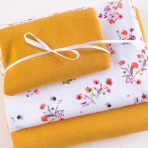 """Stoff-Paket Jersey+Sweat  """"Flower Bouquet""""  senf/weiß"""