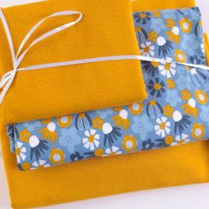 """Stoff-Paket Jersey+Sweat  """"Blomma""""  senf/blau"""