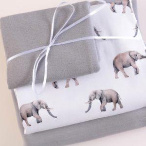 "Stoff-Paket Jersey+Sweat  ""Elephant""  white/grey"