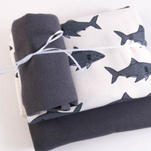 "Stoff-Paket   ""Sharky""   ecru/anthra by Elvelyckan Design"